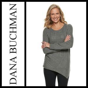 Dana Buchman Asymmetrical Hem Gray Sweater NWT